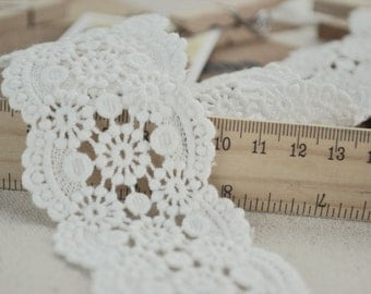 2 Yards Off White Cotton Lace Trim Crochet Lace Trim Sewing Supplies 2.36 Inches Wide