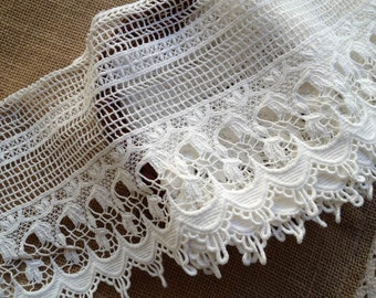Crochet Lace Trim, White Cotton Lace, Vintage Lace Trim, Cotton Crochet Lace