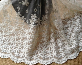 White Bridal Mesh Lace Fabric Embroidered Floral Lace Trim 11.81 Inches Wide 1 Yard