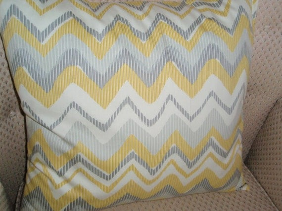 Sassy yellow and grey chevron pillow cover