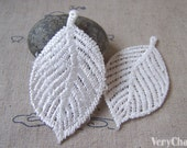10 pcs of White Filigree Crochet Tree Leaf Polyester Lace Doily 35x67mm A5404