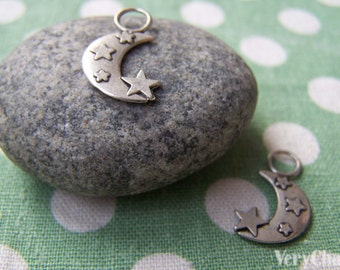 20 pcs Antique Silver Crescent Moon Star Charms 14mm A1038