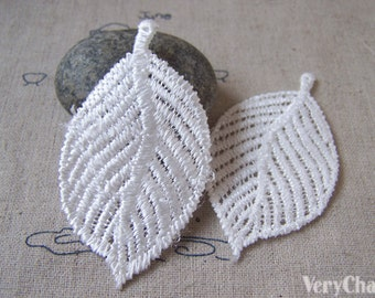 10 pcs White Crochet Tree Leaf Polyester Lace Doily 35x67mm A5404