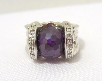 Vintage Sterling silver Natural Amethyst Ball & 2 Rows CZ Ring Size 5