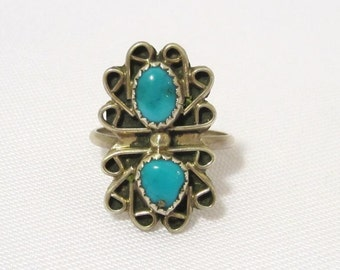 Vintage Old Pawn Sterling Silver Natural Turquoise Long Ring Size 7.25