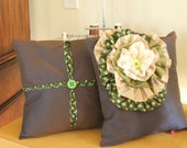 Cushions accented with african fabric