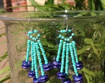 Fireworks earrings- mint green and metallic purple- beaded fringe earrings- tribal jewelry- Native American inspired earrings
