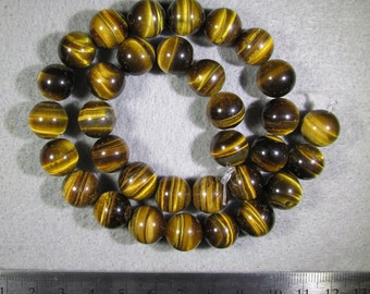 12 mm Grade AAA Brown Tiger Eye 16-inch strand