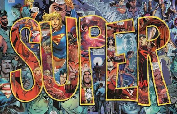 Original Superman Man Of Steel Dc Comics Collage 12x18 Wall