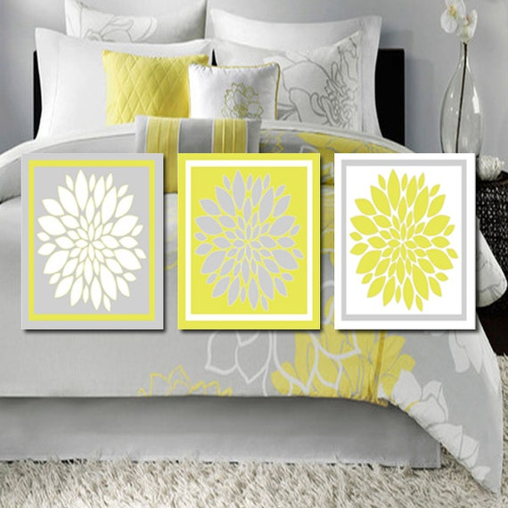 Yellow And Grey Bathroom Wall Decor : Modern abstract floral flower flourish by lovelyfacedesigns