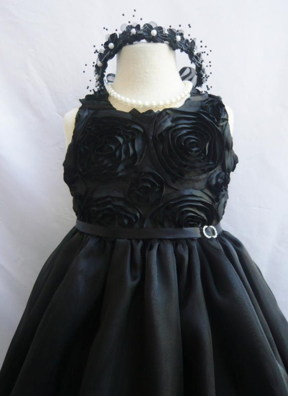 Flower Girl Dress - BLACK Swirled Rosette Dress - Bridesmaid, Communion, Easter, Wedding - Toddler, Teen (SRD)