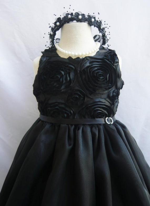 Flower Girl Dress - BLACK Swirled Rosette Dress - Bridesmaid, Communion, Easter, Wedding - Toddler, Teen (SRD)