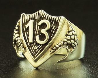 Bronze 1%er Outlaw Biker Ring Luck number 13 on Dragon Shield - All Sizes