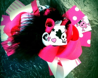 Pirate hair bow,  Pirate headband, Pink pirate bow