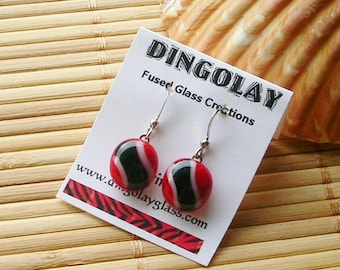 Trinidad & Tobago Fused Glass Earrings