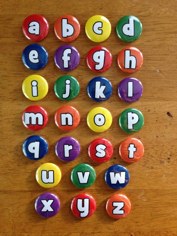 lowercase alphabet magnets 1 inch set of 26 by mybuttonmonster With lowercase letter magnets