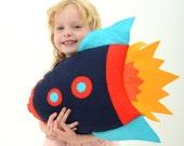 Kids Rocket Cushion, boys room decor, rocketship, felt cushion, modern nursery, boys birthday gift, space themed - ButtonOwlBoutique