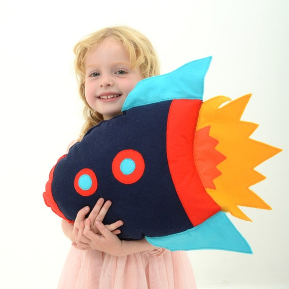 Kids Rocket Cushion, boys room decor, rocketship, felt cushion, modern nursery, boys birthday gift, space themed