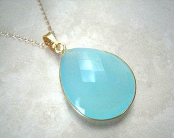 Sale!! Large Blue Aqua Chalcedony Drop Gold Necklace, Aqua Chalcedony Teardrop Necklace, Aqua Mint Chalcedony Necklace, Gold Filled Chain