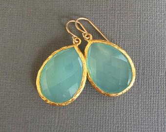 Aqua Chalcedony Earrings, Large Aqua Chalcedony Teardrop Gold Earring, Teardrop, Aqua Mint Bridesmaids