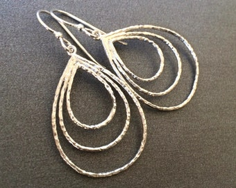 Silver Triple Teardrop Hoop Earrings, Three Teardrop Hoops Silver Earrings