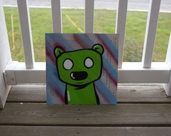Green Bear Acrylic Painting on Record Album