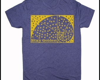Men's STAY GOLDEN Screen Printed Fibonacci Shirt Golden Ratio Sacred Geometry Clothing