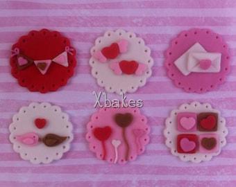 Valentine's fondant cupcake toppers (12)