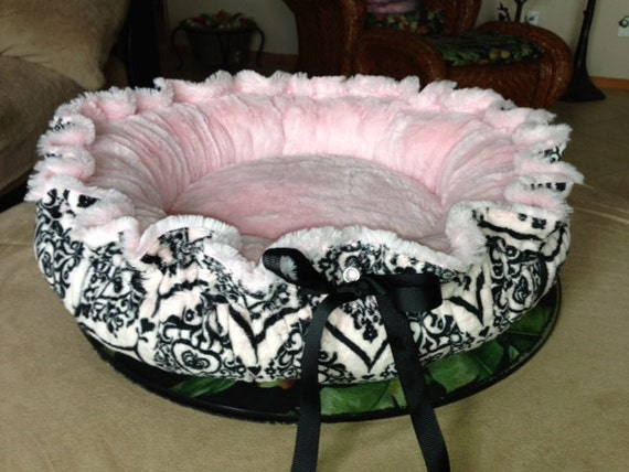 Pamper Your Baby: Pink Plush Minky and Victoria Pink Minky Dog Bed