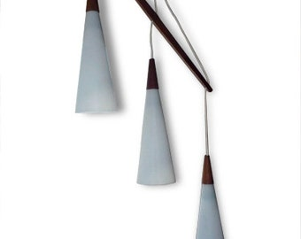 Danish Modern Light Danish Teak and Glass Hanging Lamp Vintage Lighting