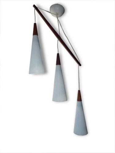 mid century modern danish hanging lamp w teak by xcapevintage. Black Bedroom Furniture Sets. Home Design Ideas