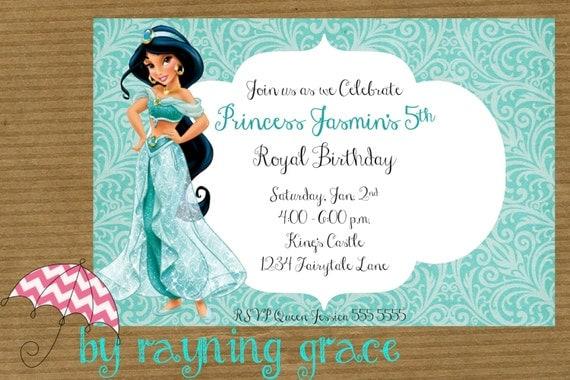 Items similar to Disney Princess Jasmine Birthday Party – Princess Jasmine Birthday Card