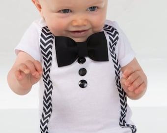 Baby Boy Clothes - Bow Tie Suspenders  - Baptism Boy - Baby Suit - Baby Boy First Birthday Outfit - Baptism Boy - Baby Boy Wedding Outfit