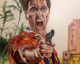 Al Pacino in Scarface. 16x20 in. original acrylic painting on ready to hang canvas. 5/8 in. profile.