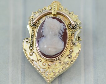 Antique Victorian Etruscan Revival Cameo Brooch/ Pendant 12K Gold