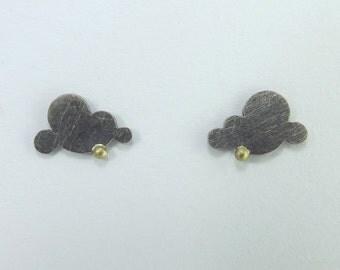 Handmade Oxidised Silver Cloud Earring Studs