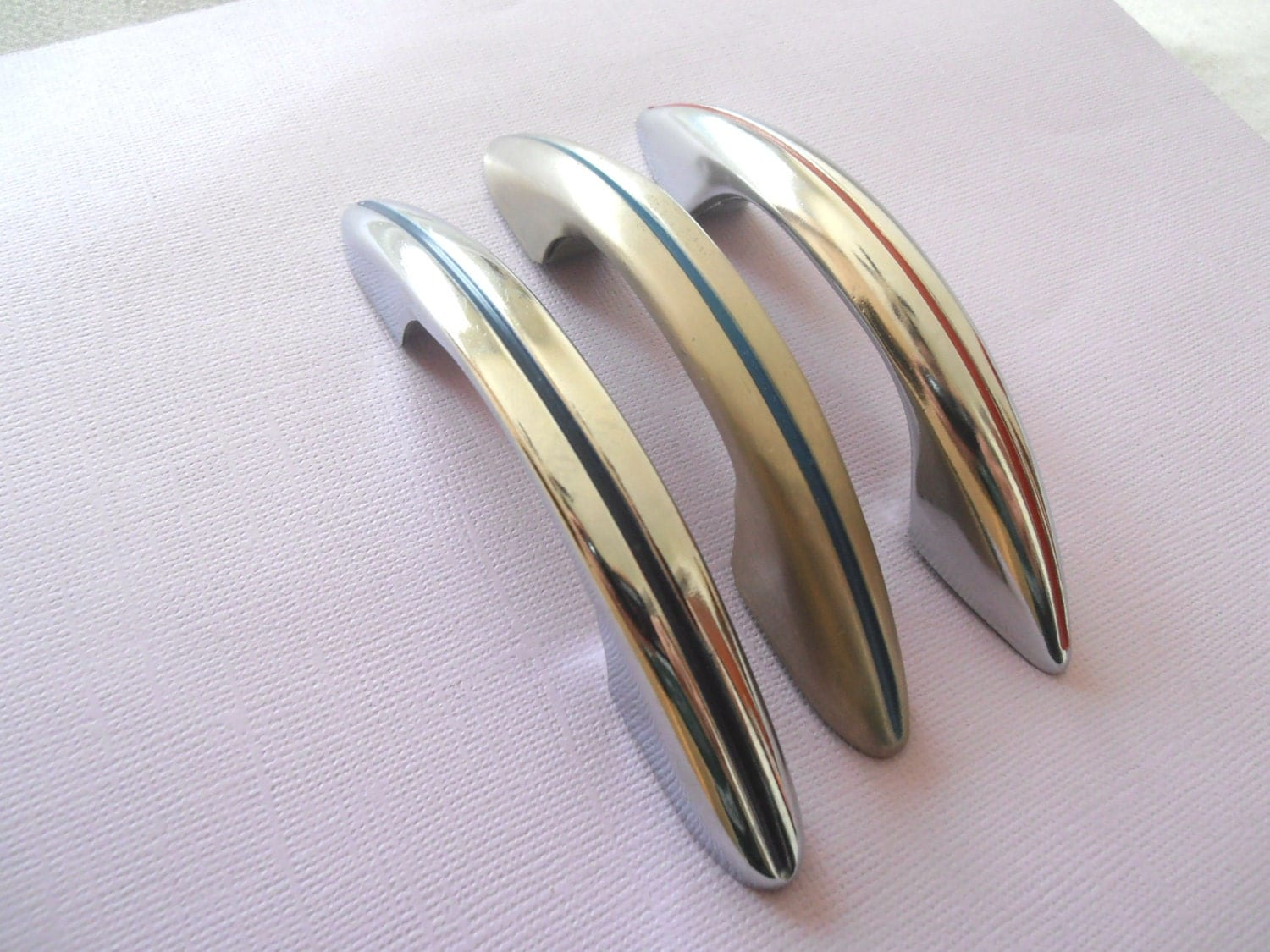 Vintage 1950 39 s chrome drawer door cabinet handles only for 1950 door handles