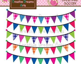 40% Off! Simple Bunting Digital Clip Art Instant Downloads