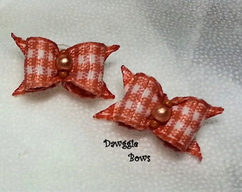 3/8 Single Loop Bow PAIRS Gingham Dog Bows