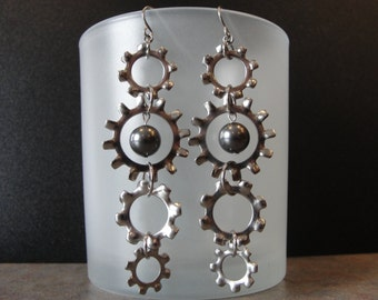 Dark Grey Swarovski Crystal Pearl, Industrial Hardware Stainless Steel Lock Washer Earrings, Swarovski Earrings Jewelry, Upcycled Repurposed