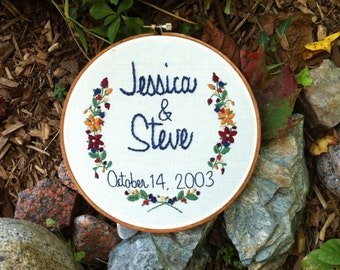 Hand Embroidery. Couples. Wedding Gift. Anniversary Gift. Personalized. Embroidery Hoop. Love. Hoop Art. Wall Art. Keepsake. Wall Hanging