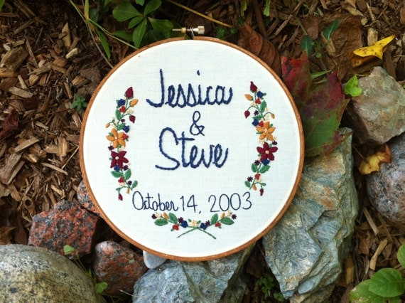 Hand embroidery couples wedding gift anniversary