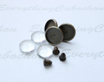 20 sets Antique Bronze Earring Posts Earring Ear Studs with Ear backs and matching round glass cabochons, Inner tray 10mm