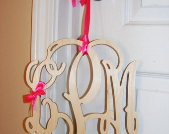8 inch Wooden Monogram Letters, Small Wooden Initials, Wooden Wreath Monogram Letters, Door Hanger, Home Decor, Wooden Monogram, Dorm Room