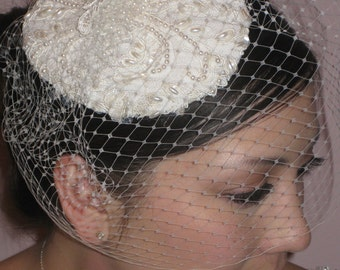 Bridal hat/birdcage veil. vintage inspired bridal hat with removable birdcage veil.