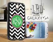 Galaxy Custom Monogram Chevron Pink Black and Green - S4 / S5 Case Cover GS4