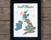 Map of the United Kingdom | # poster, map, print, england, counties, vintage, retro