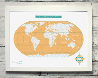 Map of the World | # poster, map, print, vintage, gift, home