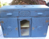 SOLD               The Dorchester 1920s buffet in planet blue with original hardware and keys