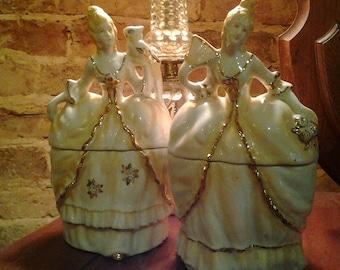 Pair Of Antique Porcelain Dermay Bath Powder Box Victorian Ladies